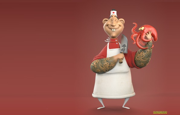 Картинка арт, осьминог, повар, Júlio César, Chef Takô