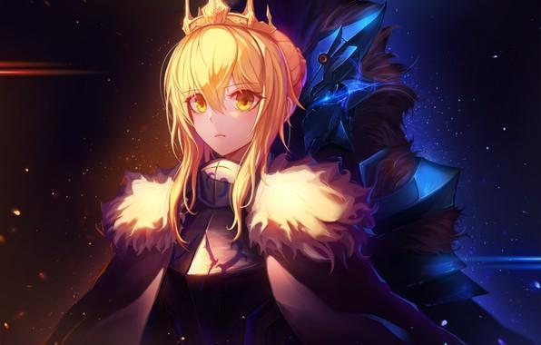 Картинка девушки, аниме, корона, saber, fate, fate/grand order, artoria pendragon, inho song
