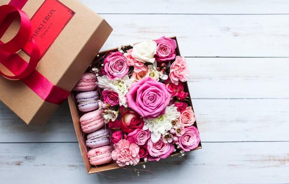 Картинка розы, Цветы, Макаруны, Коробочка