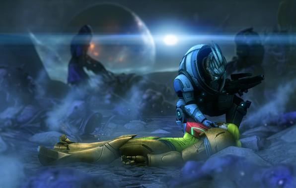 Картинка mass effect, Garrus Vakarian, samus aran, zero suit, armor metroid, power suit