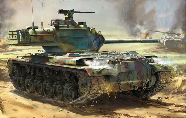 Картинка огонь, дым, рисунок, взрывы, арт, танк, поле боя, американский, средний, M47, Patton II