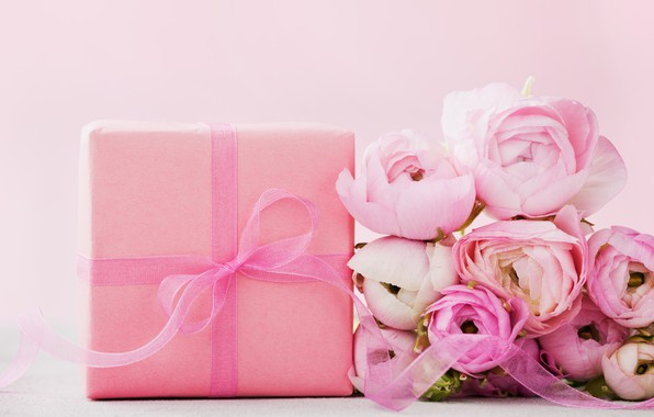 Картинка цветы, подарок, розы, розовые, pink, flowers, beautiful, romantic, present, gift, roses, tender