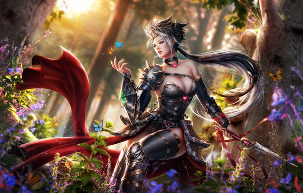 Картинка лес, грудь, девушка, бабочки, волосы, эльф, платье, нож, Adalia