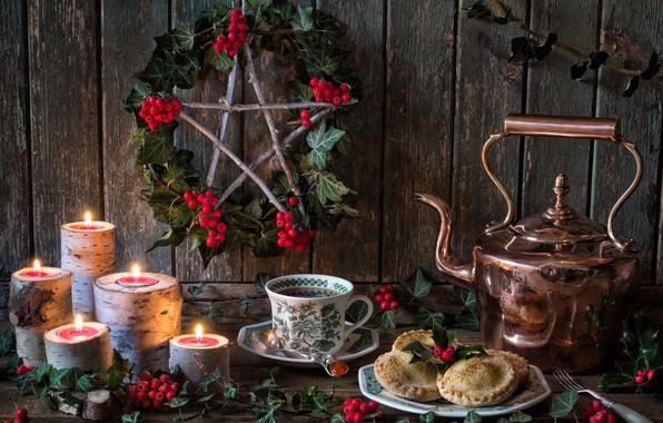Картинка ягоды, чай, звезда, свечи, чайник, печенье, кружка, натюрморт, Зимнее солнцестояние