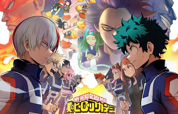 Картинка anime, hero, asian, manga, asiatic, yuusha, kanji, season 2, japonese, Izuku Midoriya, Shouto Todoroki, Katsuki …
