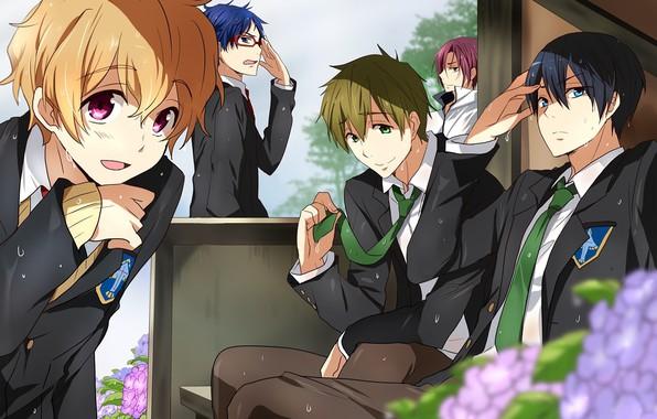 Картинка эмоции, очки, галстук, эмблема, парни, друзья, школьная форма, art, пот, гортензия, Nanase Haruka (Free!), Matsuoka …