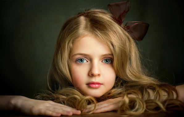 Картинка глаза, лицо, волосы, девочка, бант