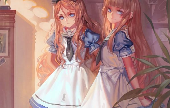 Картинка девочки, галстук, бант, Alice in Wonderland, art, фартук, alice, оборки, голубое платье, Alphonse