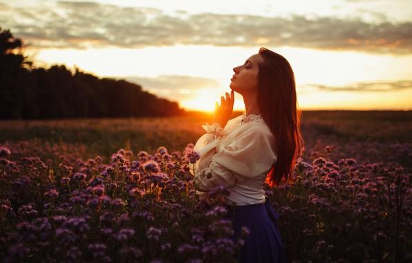 Картинка девушка, закат, природа, поза, настроение, луг, Егор Конабевцев