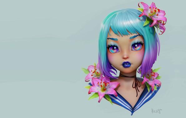 Картинка цветы, портрет, аниме, арт, девочка, Olya Anufrieva, 3d c, JGirl