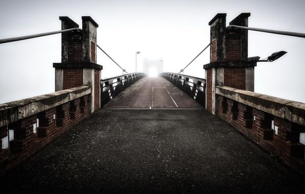 Картинка мост, туман, France, Trévoux - Ain