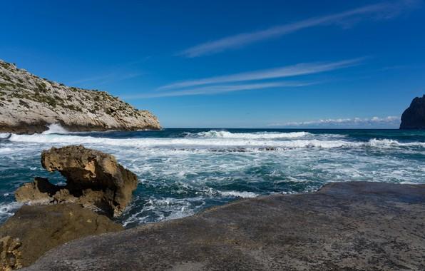 Картинка море, волны, небо, скалы, берег
