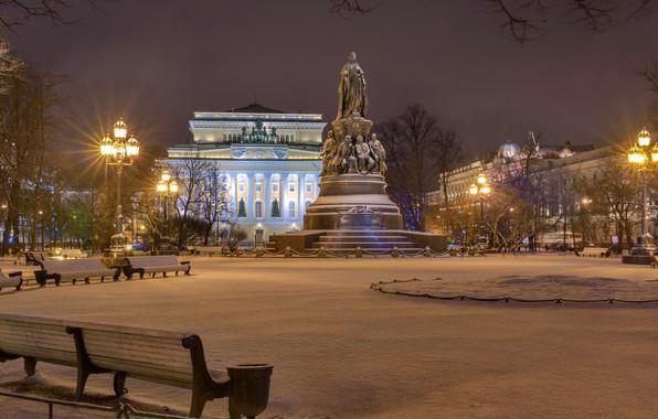Картинка зима, снег, деревья, ночь, огни, дома, площадь, фонари, Санкт-Петербург, памятник, Россия, скамейки, дворец, площадь Отровского