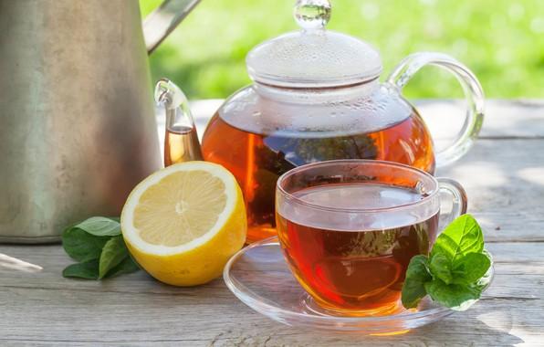 Картинка Лимон, Мята, Черный чай