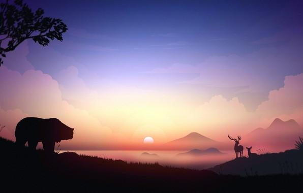 Картинка horns, animals, sunset, art, mountains, tree, digital art, artwork, deer, silhouette, mist, Bear