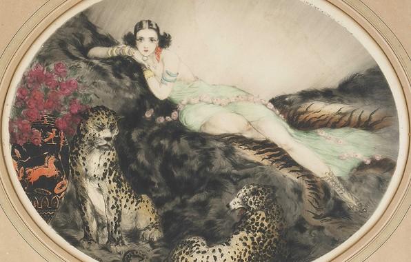 Картинка кошки, розы, 1927, Таис, Louis Icart, фарфоровые вазы