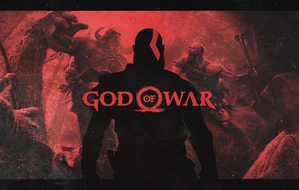 Картинка axe, battlefield, red, blood, logo, forest, Sony, demigod, monster, weapon, Kratos, God of War, man, …