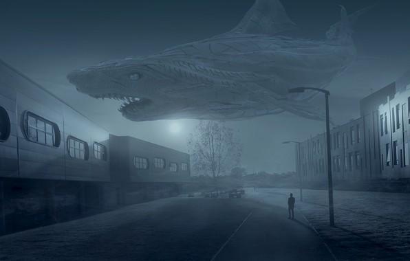Картинка небо, свет, ночь, город, туман, фантазия, луна, улица, апокалипсис, человек, окна, здания, монстр, рыба, акула, …