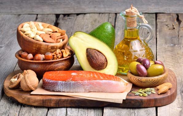 Картинка масло, рыба, доска, орехи, оливки, nuts, fish, авокадо, olive