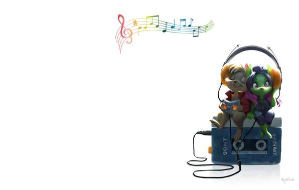 Картинка музыка, наушники, арт, плеер, двое, magda proski, Fooled around and fell in love