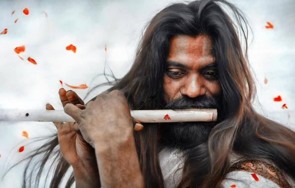 Картинка лепестки, флейта, длинные волосы, индус