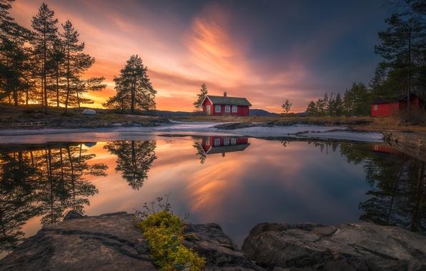 Картинка облака, свет, природа, отражение, вечер, домик
