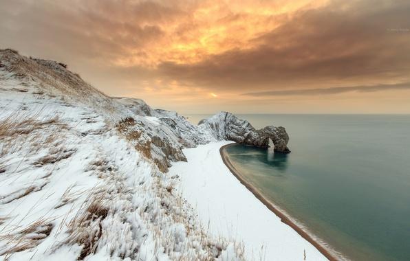Картинка зима, море, скалы