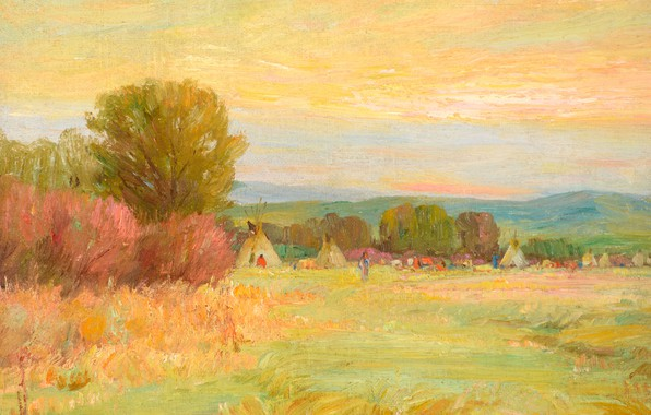 Картинка Sunrise, Joseph Henry Sharp, Crow Reservation