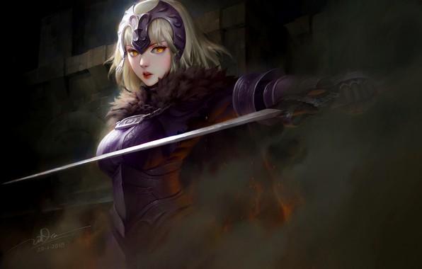Картинка girl, sword, fantasy, armor, weapon, anime, blonde, digital art, warrior, fantasy art, yellow eyes, helmet, …
