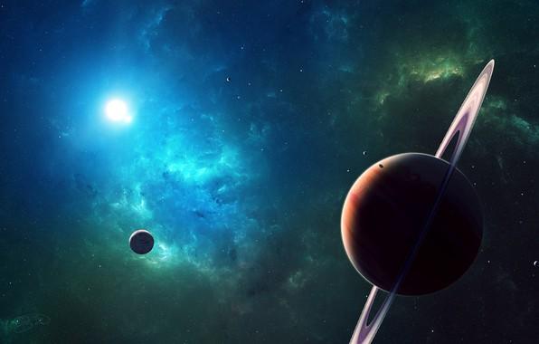 Картинка space, Planets, nebula, stars, cosmos, galaxy, digital art, artwork, rings, planetary rings