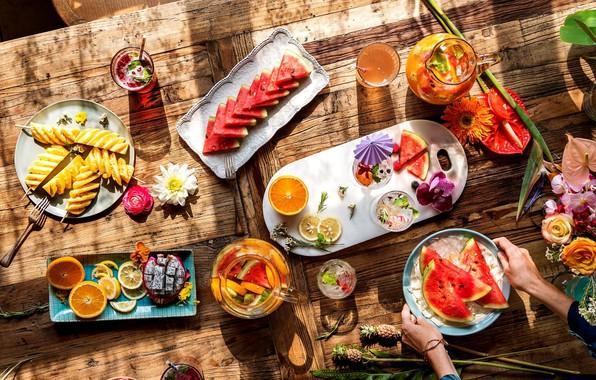 Картинка лед, цветы, стол, апельсин, арбуз, напиток, фрукты, фрукт дракона