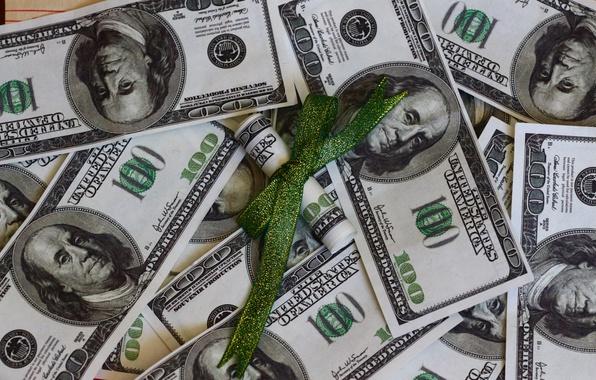 Фото обои текстура, бант, деньги, доллары