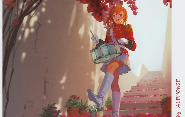 Картинка стена, сапоги, лепестки, лестница, перчатки, униформа, барабан, art, рыжая девушка, эполеты, Alphonse