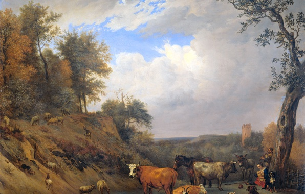 Фото обои Пастухи со Своим Скотом, Паулюс Поттер, масло, животные, холст, картина