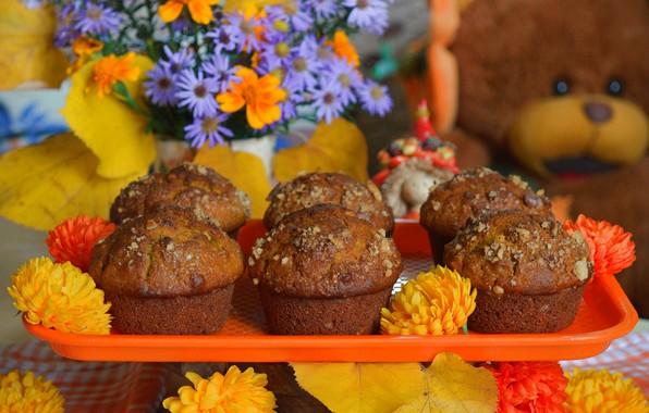 Картинка Цветочки, Сладости, Flowers, Кексы, Cupcakes