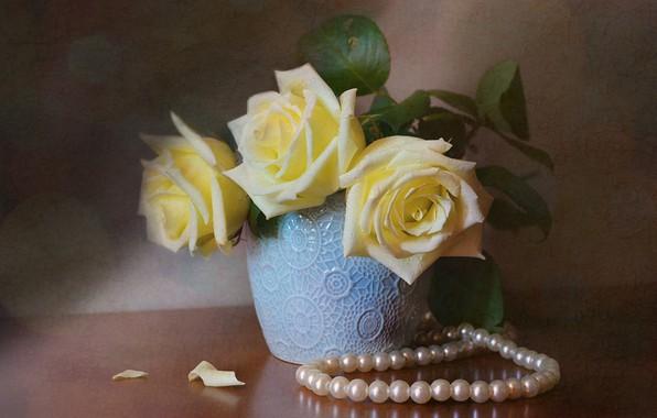 Картинка цветы, стол, розы, жемчуг, бусы, ваза, натюрморт, боке