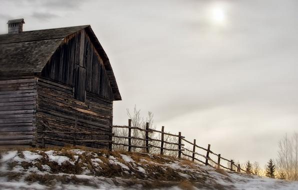 Картинка зима, дом, забор