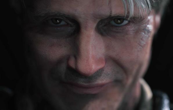 Картинка взгляд, лицо, улыбка, kojima productions, hideo kojima, Death Stranding, mads mikkelsen
