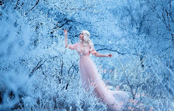 Картинка зима, лес, девушка, снег, деревья, цветы, ветки, поза, макияж, платье, розовое, прическа, блондинка, красавица, кусты, …