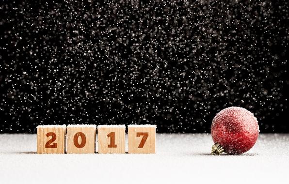 Картинка снег, шар, шарик, Новый Год, new year, happy, snow, bokeh, ball, 2017