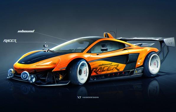 Картинка McLaren, Авто, Рисунок, Машина, Оранжевый, Фон, Car, Автомобиль, Арт, Art, Sports, Рендеринг, Yasid Design, 570S, …