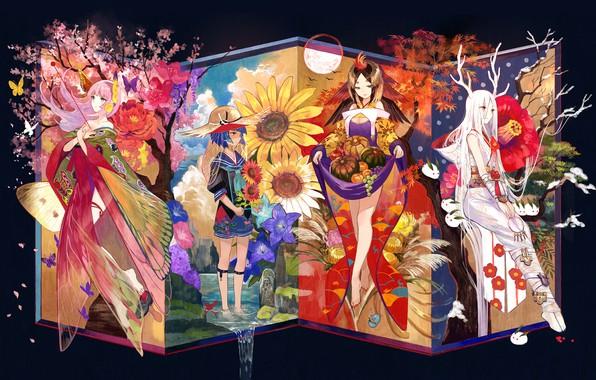 Картинка девушки, группа, аниме, Арт