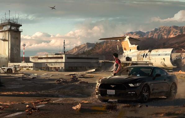 Картинка авто, ford mustang, art, летное поле, Need for Speed: Payback