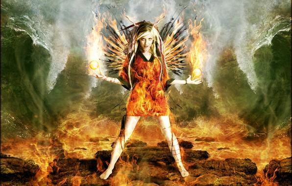 Картинка волны, девушка, шарики, огонь, рога, Digital Art, brandrificus, огненный ангел, firestarter full scene