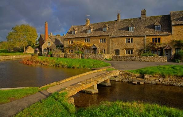 Картинка мост, река, Англия, дома, Лоуэр Слотер