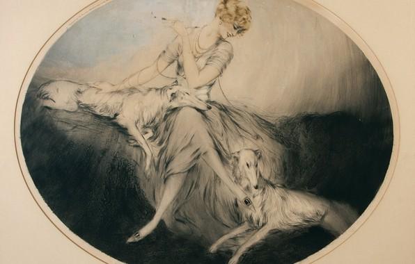 Картинка элегантные, 1923, Друзья, Louis Icart, арт-деко, офорт и акватинта, женщина с собаками