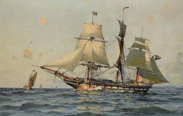 Картинка морской пейзаж, Herman Gustav Sillen, Шведский военный корабль, Море и корабли
