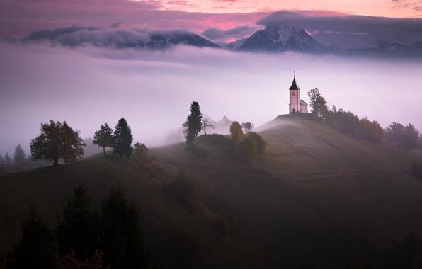 Картинка горы, туман, утро, церковь