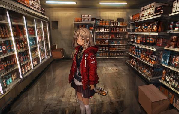 Картинка девушка, чулки, аниме, арт, алкоголь, форма, бутылки, магазин, lm7