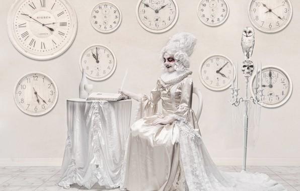 Картинка девушка, часы, вампир